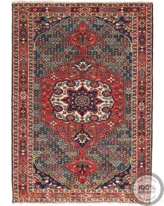 Persian Antique Bakhtiar Rug  - Red / Beige / Dark Blue Medallion - front view