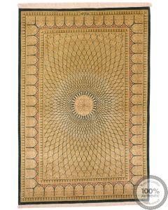 Persian fine qum 100% silk rug green