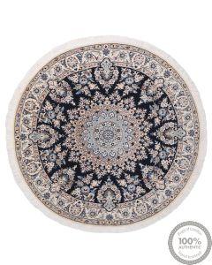 Persian Nain circular rug with silk highlights - Navy
