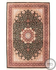Persian Qum silk Rug - Floral Black/Red Medallion with Red Borders - front view