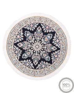 Floral Persian Nain circular rug with silk highlights