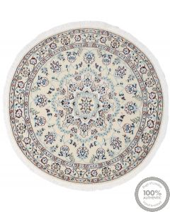 Nain 9la Circular rug with silk highlights - 3'74 x 3'74
