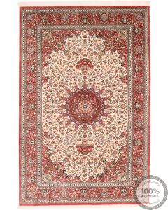 Persian Qum Silk Rug - Floral Beige/Light Red Medallion - front