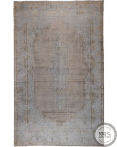 Distressed Grey and Blue Vintage Rug - close up