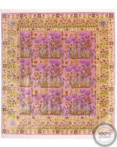 Tabriz Pure Silk Rug Tulip Design - 7'6 x 7'1