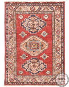 Caucasian Kazak design rug red - 3'7 x 2'7