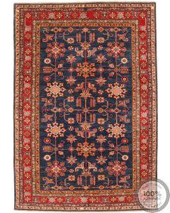 Coucasian design Kazak rug navy - 8'17 x 5'64