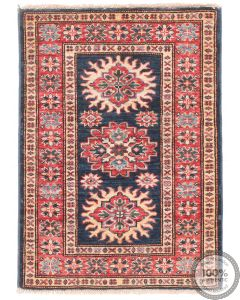 Caucasian Kazak design rug Navy 2'8 x 2