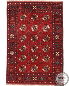 Ersari Design Afghan Rug - Rich Red Large Patterns - front view