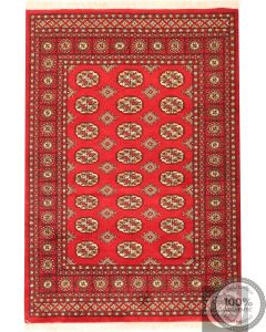 Bokhara design rug with red