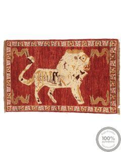 Pictorial Lion Rug Part Silk  - 4'3 x 2'8