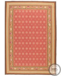 Pink Floral Aubusson Design Rug 9 x 6
