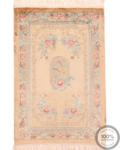 Chinese Aubusson design pure silk pile rug - 5'9 x 4