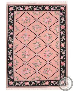 Bessarabian Design Kilim - Pink / Floral Pattern / Black Borders - front view