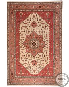 Persian Saruk rug - Beige/Orange/Red - front view