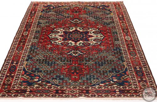 Persian Antique Bakhtiar Rug  - Red / Beige / Dark Blue Medallion - flat