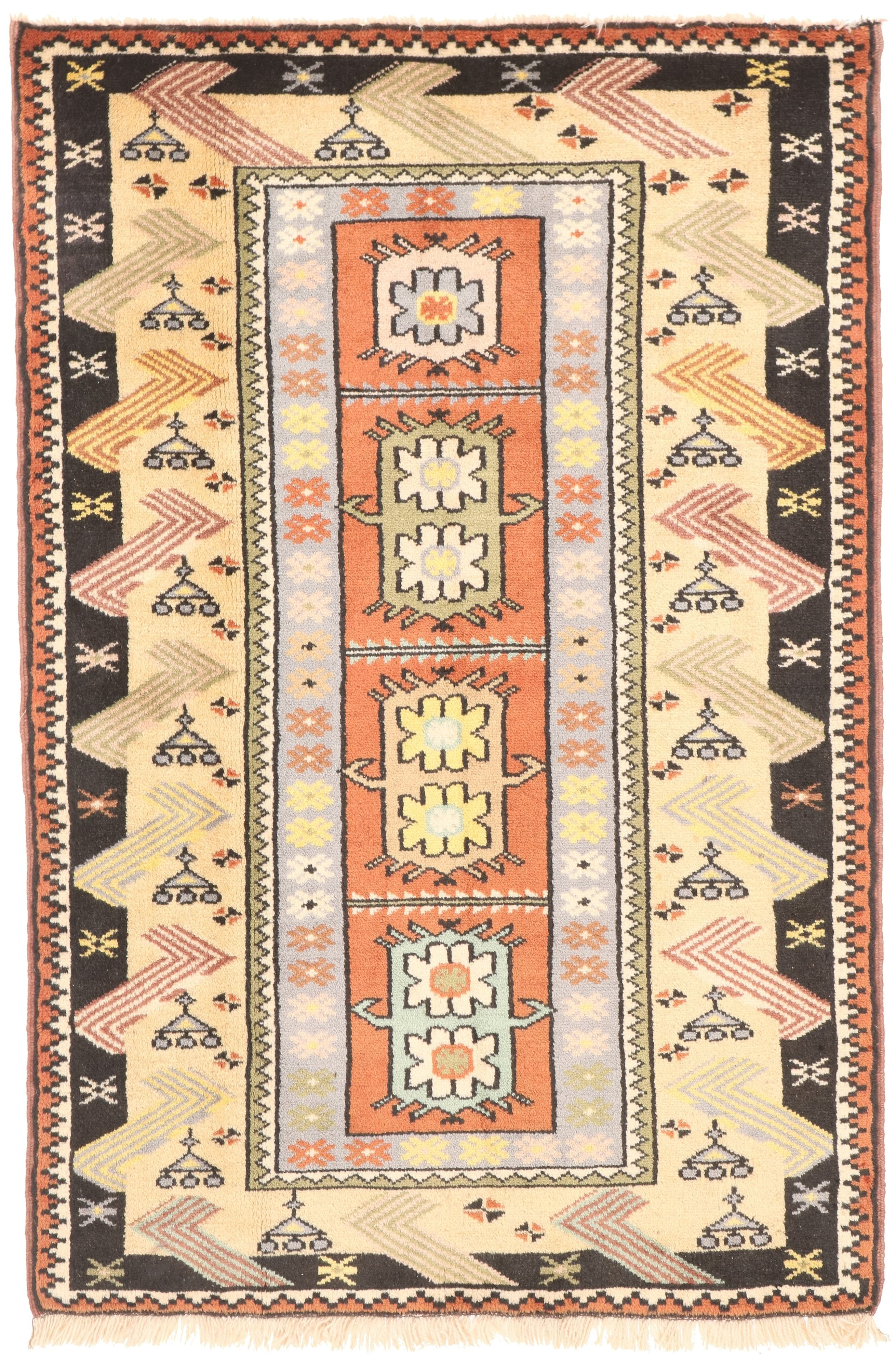 Persian Balouch Rug Yellow / Orange / Black Border - front view