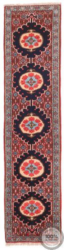 Persian Sanandaj Runner Rug - Navy Blue / Red / Light Blue - front