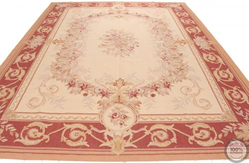 Aubusson French rug burgundy border - Design 43
