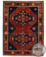Garous / Ziegler design Rug - Red & Navy - front