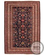 Fine Shirvan Rug - Beige / Navy Blue / Brown & Mix Colour Motifs - front view