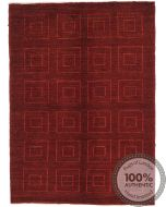 Garous Ziegler Design Modern Rug - Red & Square Patterns 6'6 x 4'6