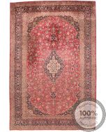 Persian Keshan Kashan rug - Light Red Medellion & Blue Floral Motif Borders - front view