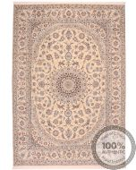 Persian Nain 9la rug with silk highlights - 11'7 x 8'1