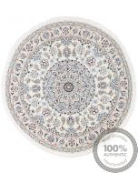 Persian Nain Circular rug with silk highlights - Beige With Light Blue Motifs - front view