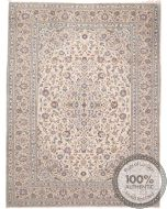 Persian Kashan Keshan rug - Beige With Light Blue Floral Design - front view