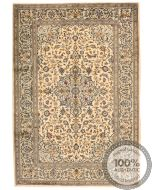 Persian Kashan Keshan rug - Beige With Dark Blue Floral Design - front view
