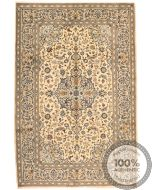 Persian Kashan / Keshan rug - Dark Blue Floral Motifs on Beige Background - front view