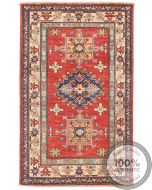 Caucasian Kazak design rug red - 4'3 x 2'69