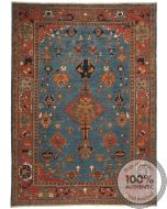 Shirvan Rug - Light Blue & Orange - front view