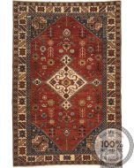 Shirvan Rug - Dark Blue / Pale Red / Beige - front view