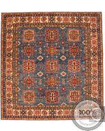 Caucasian Kazak Square Rug - Blue