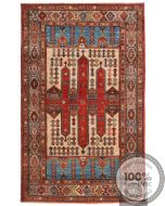 Shirvan Design Rug Biege / Light Blue / Brown - front view