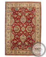 Fine Garous Ziegler Design Indian Rug Red & Beige - front view