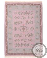 Bessarabian Design Kilim Pink & Grey Floral Patterns - front view
