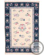Bessarabian Design Kilim Beige & Dark Blue Borders - front view