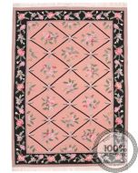 Bessarabian Design Kilim - Pink / Floral Pattern / Black Borders - front view