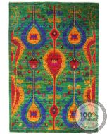 Sari Silk rug - Green