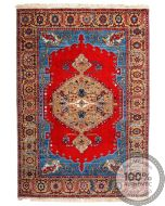 Indian Serapi Design Rug - Bright Red / Blue / Biege - front view