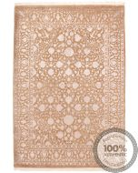 Keshan design contemporary Indian rug brown and light purple - front view