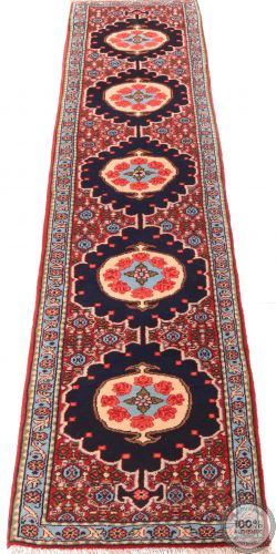 Persian Sanandaj Runner Rug - Navy Blue / Red / Light Blue - flat
