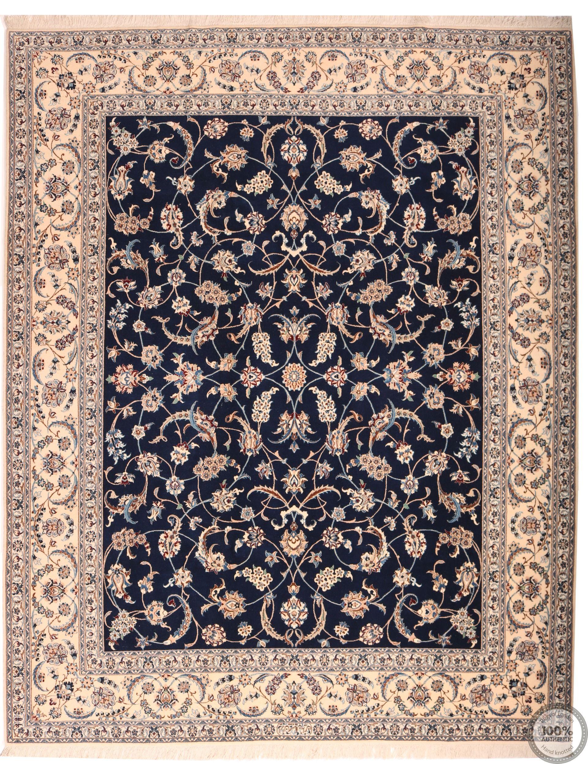 Persian Nain 6la rug with silk highlights - 8'3 x 6'7