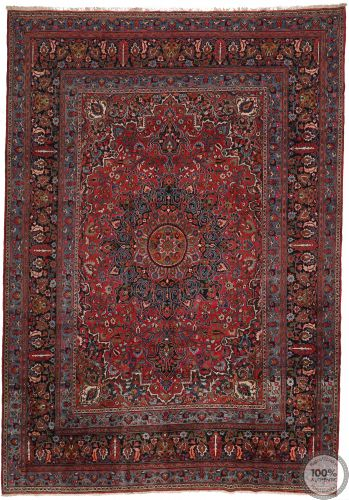 Antique Persian Mashad rug - 15.2 x 10.8