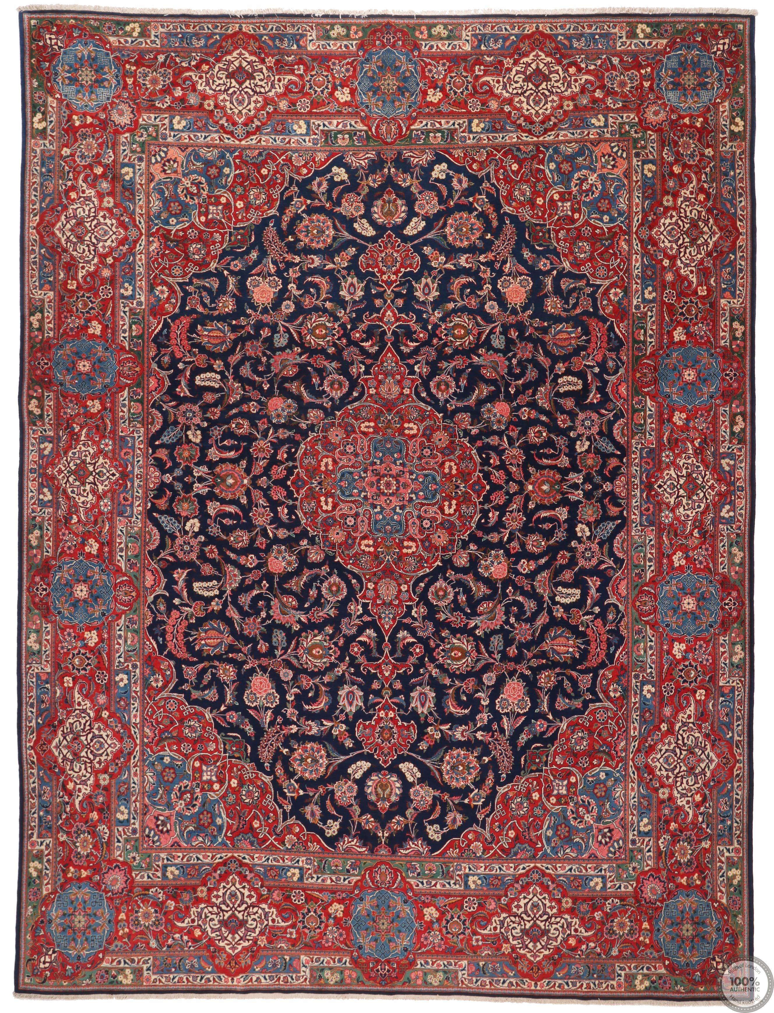 Antique Fine Persian Kashan Rug - 13.4 x 10.1