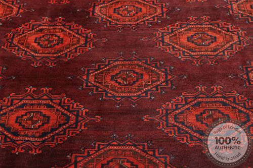 Afghan design rug runner dark red