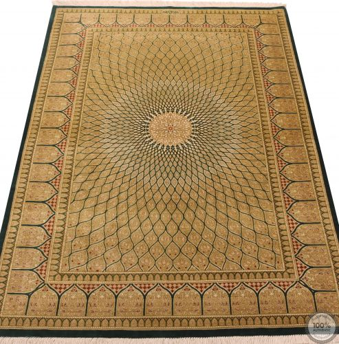 Persian fine qum 100% silk rug green
